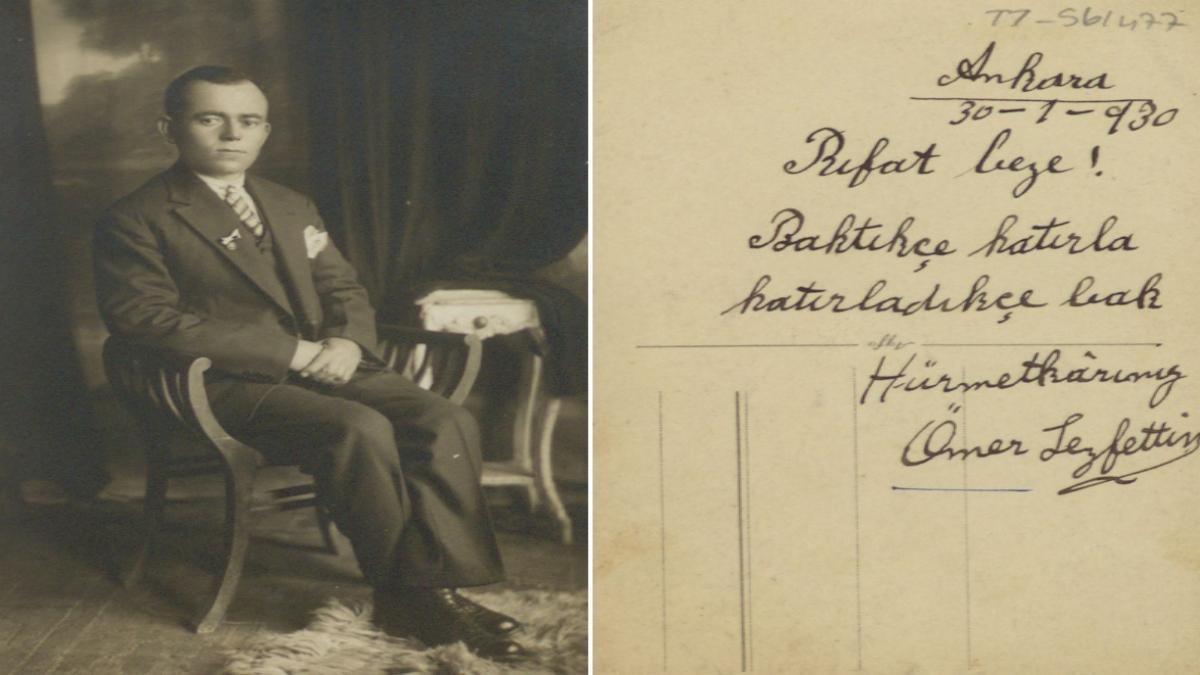Ömer Seyfettin'in Rıfat Bey'e takdim ettiği fotoğafı Kaynak: http://earsiv.sehir.edu.tr:8080/xmlui/handle/11498/24788