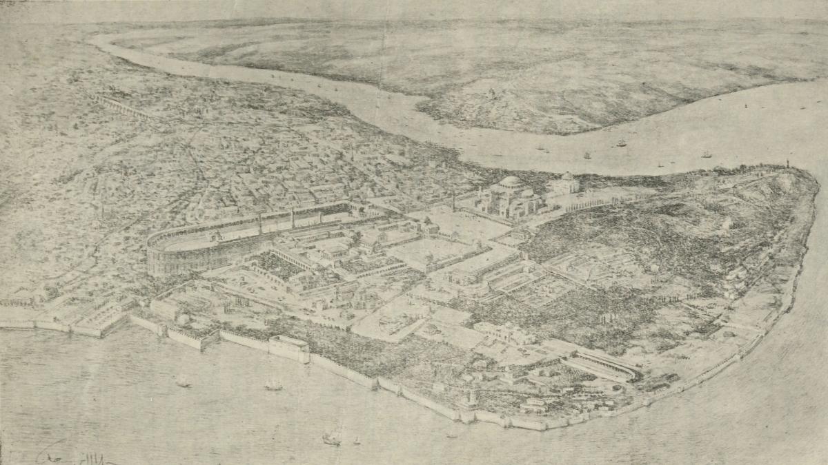İstanbul'da Bizans sarayları. Kaynak: İstanbul Şehir Üniversitesi Arşivi