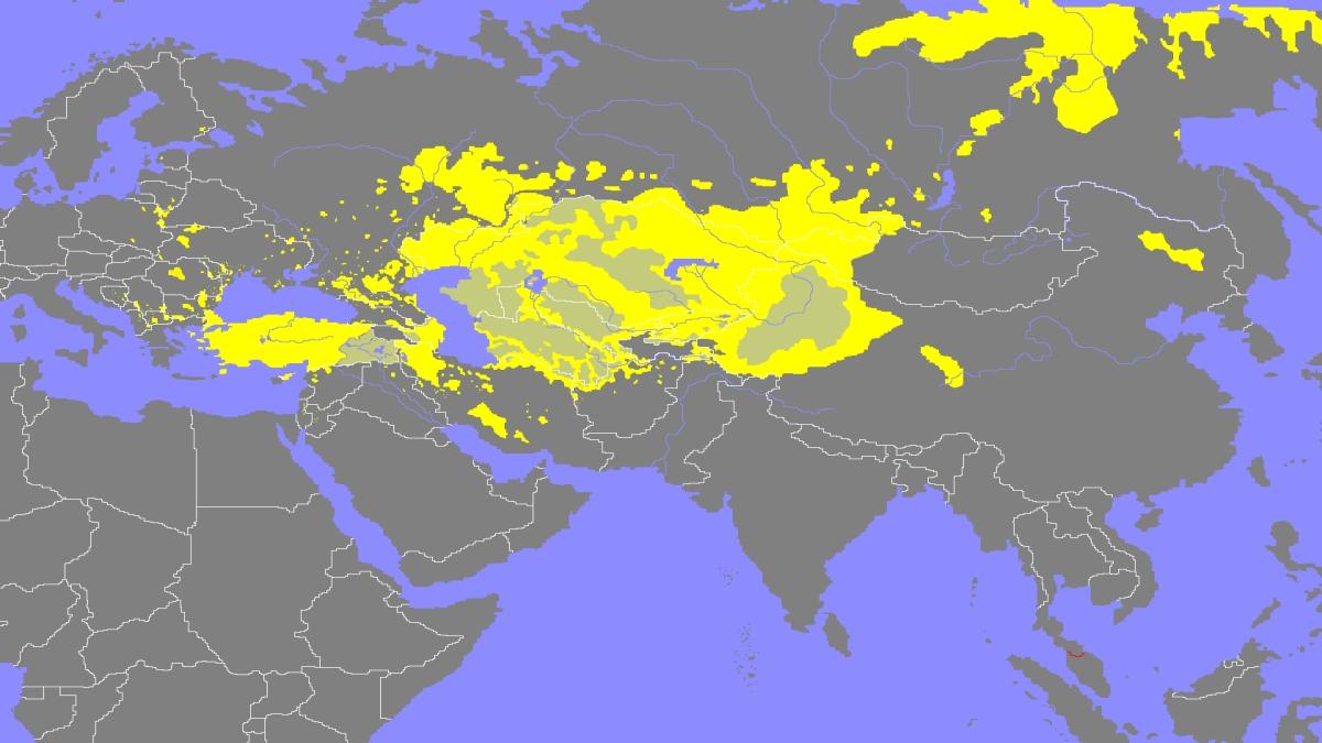 Türk dillerinin yayıldığı alan. Kaynak: Wikimedia Commons'tan Özgür medya deposu