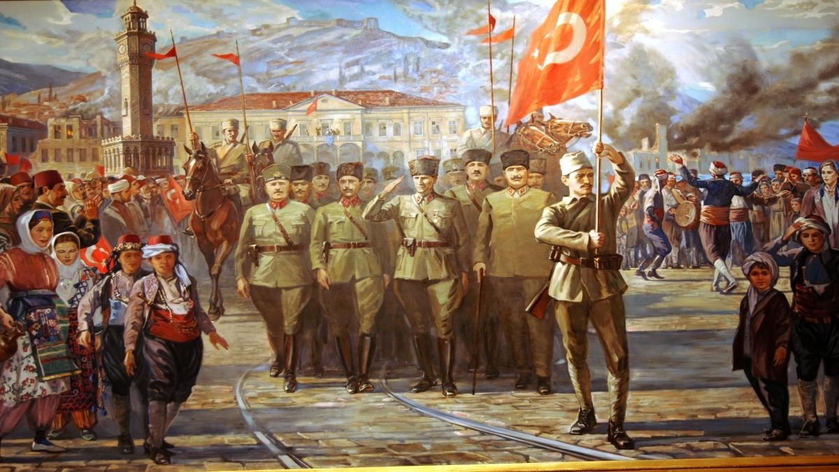 Ahmet Ziya Akbulut, Türk Ordusunun İzmir'e Girişi (77 cm × 53 cm, Atatürk ve Kurtuluş Savaşı Müzesi) Kaynak: Wikimedia Commons'tan Özgür medya deposu