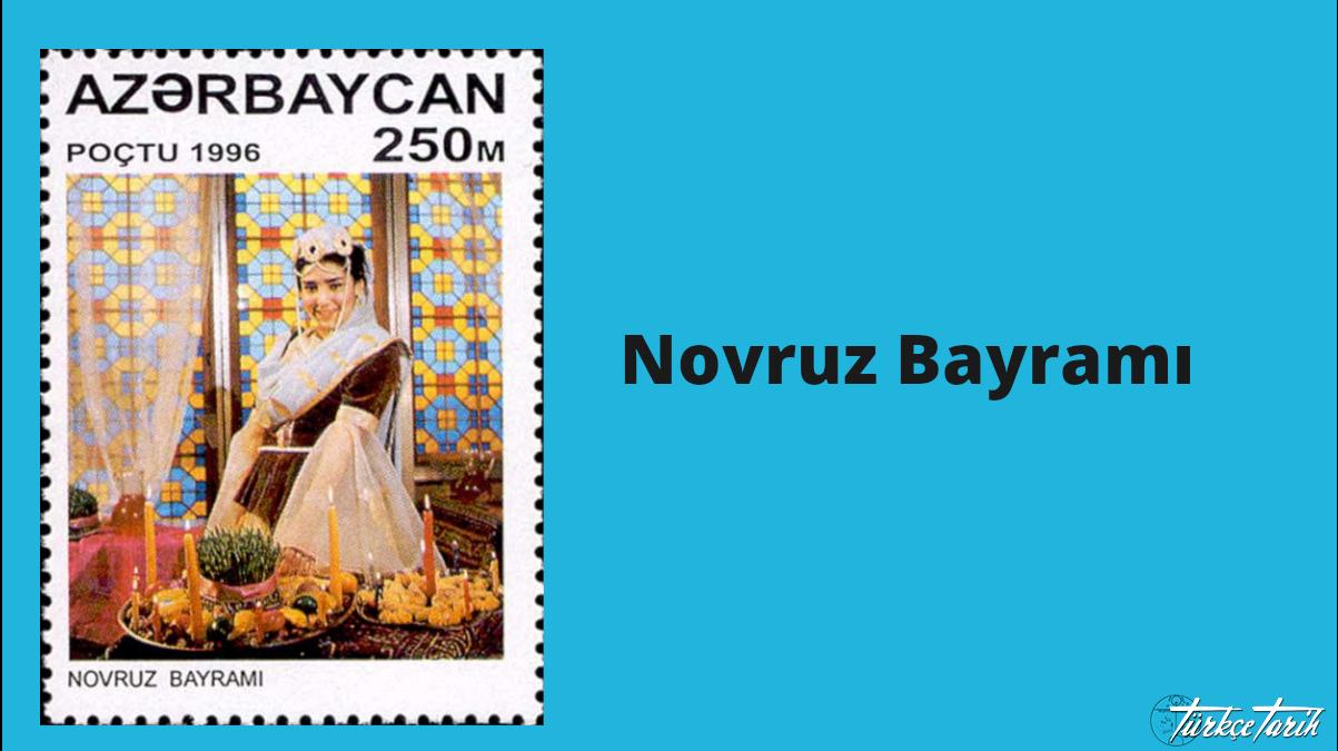 Azərbaycanın poçt markası. Azərbaycanlı qadın bayram xonçası ilə - Kaynak: Wikimedia Commons'tan Özgür medya deposu