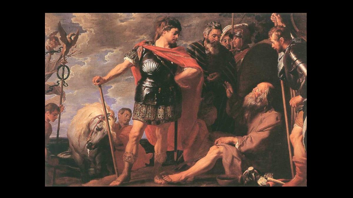 Büyük İskender'e güneşime gölge etme başka ihsan istemem diyen Diyojen'e atfen, ressam Gaspar de Crayer (1584–1669) Kaynak: Wikimedia Commons'tan Özgür medya deposu