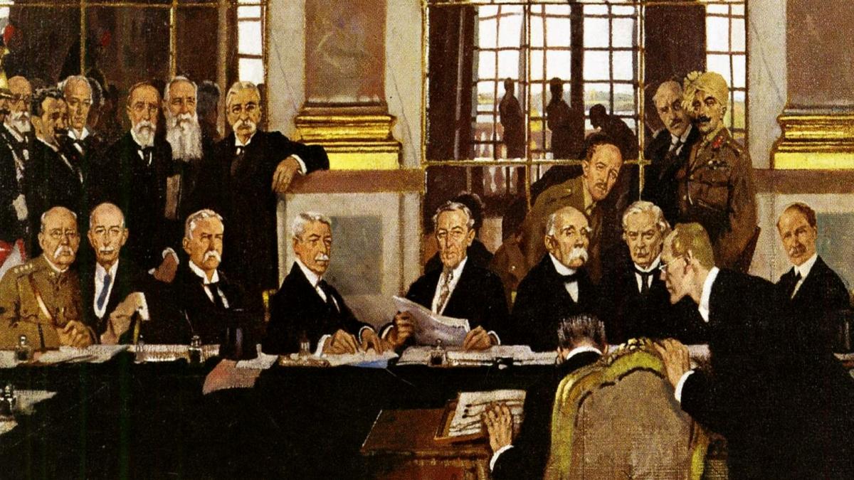 Paris Barış Konferansı - Johannes Bell of Germany is portrayed as signing the peace treaties on 28 June 1919 in The Signing of Peace in the Hall of Mirrors, by Sir William Orpen. - Kaynak: Wikimedia Commons'tan Özgür medya deposu