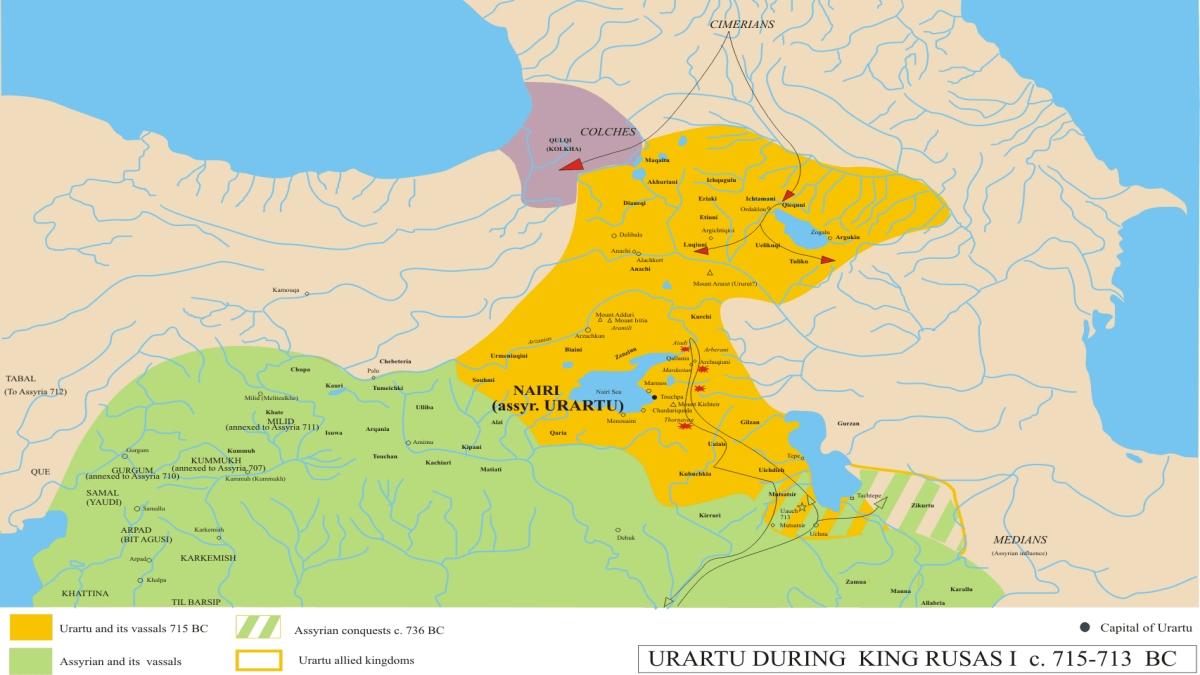 Kimmerlerin Urartu ve Kolha topraklarına girişi (MÖ 715 - MÖ 713) - Kaynak: Wikimedia Commons'tan Özgür medya deposu