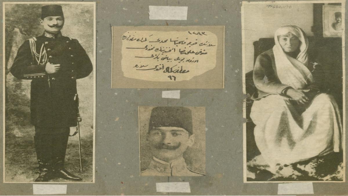Mustafa Kemal Atatürk'e ve annesi Zübeyde Hanım'a ait fotoğraflar Üç resmin ortasında, üst kısma yapıştırılmış olan Mustafa Kemal'in şemaili ile ilgili kısımda Osmanlıca olarak yazılmış şu bilgi vardır: