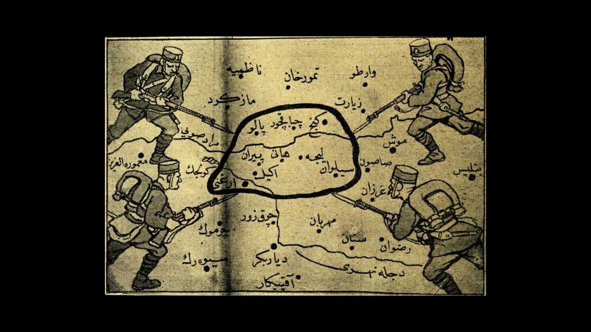 Bölgeyi (Palu, Çapakçur, Genc, Piran, Hani, Lice, Ergani, Eğil, Silvan) kuşatan süngülü Türk askerleri (30 Mart 1925 tarihli Cumhuriyet gazetesi) -  Kaynak: Wikimedia Commons'tan Özgür medya deposu
