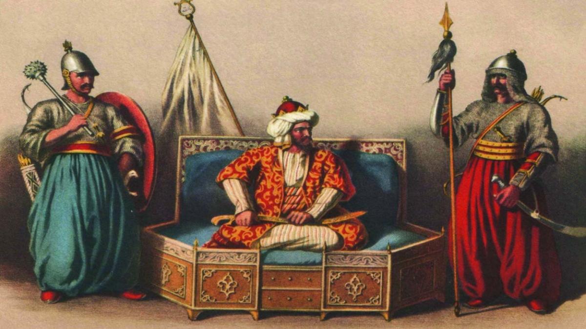 İlk kumandanlardan Akçakoca Bey ile Konur Alp ve ortada beyliğin kurucusu Osman Bey Kaynak: Wikimedia Commons'tan Özgür medya deposu