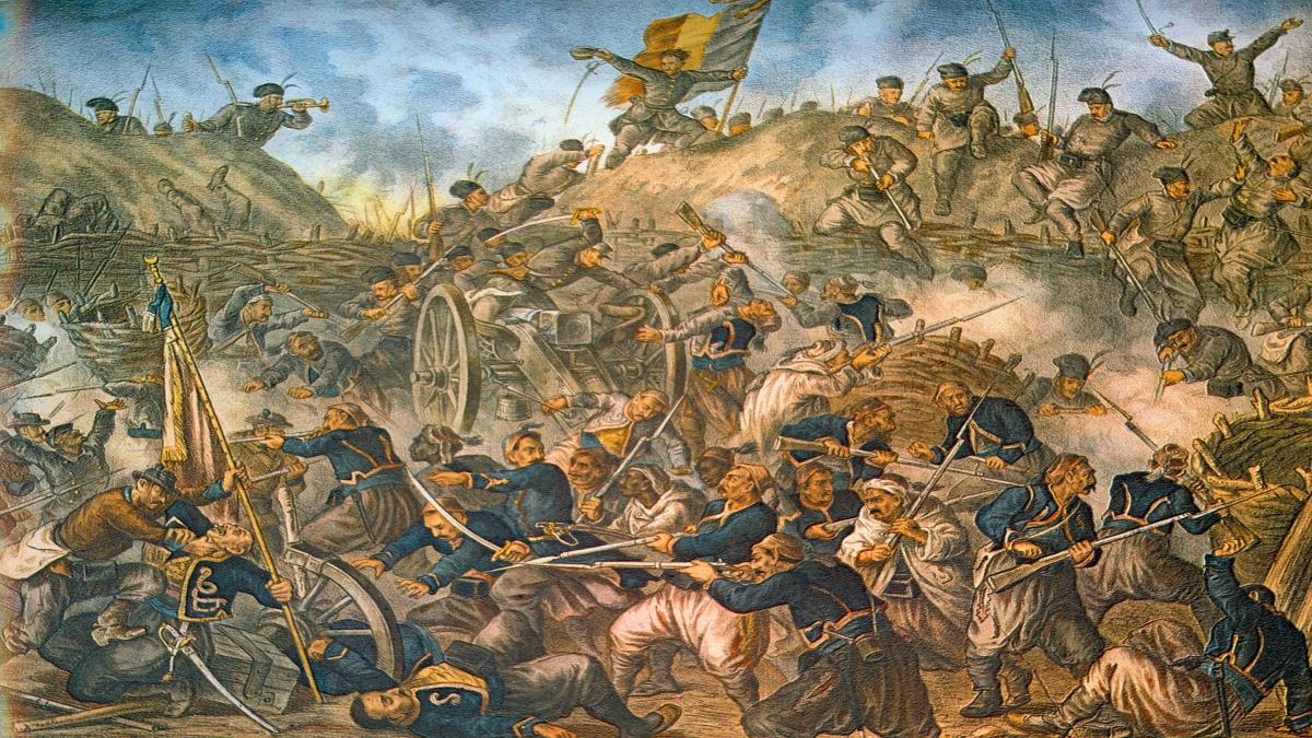 3. Plevne Muharebesi Romanya birlikleri Grivitsa mevzisini alırken gri renkli askerler Rumen mavi renkli askerler ise Osmanlıları temsil etmektedir. Resim ismi. Kaynak: Wikimedia Commons'tan Özgür medya deposu