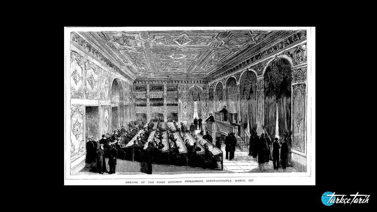Meclis-i Mebusan Çırağan Sarayındaki toplantı salonu, 1877 -  Kaynak: Wikimedia Commons'tan Özgür medya deposu