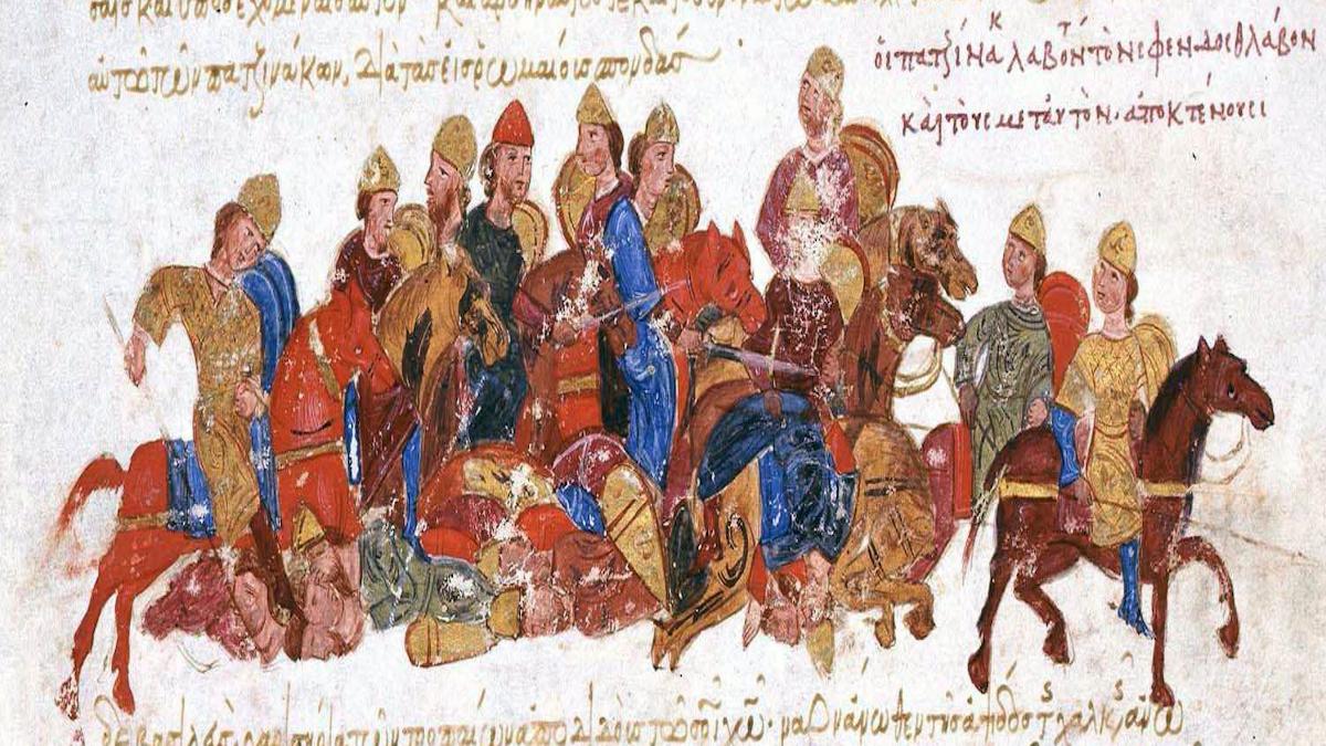 """Peçeneklerin I. Svyatoslav'ın """"skyth""""lerine saldırışı (İoannis Skilicis'in eserinden) - Kaynak: Wikimedia Commons'tan Özgür medya deposu"""