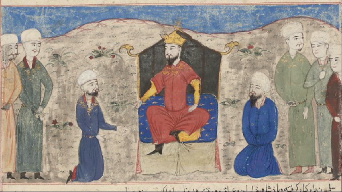 Alparslan - Miniature painted illustration from the Majma' al-Tawarikh of Hafiz 'Abru. Depicts accession to the throne of Herat by Alp Arslan (20 January 1029 – 15 December 1072). Kaynak: Wikimedia Commons'tan Özgür medya deposu