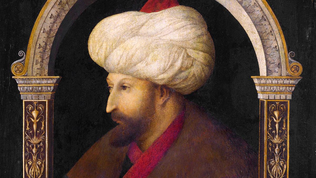 Osmanlı Padişahı Fatih Sultan Mehmed'in İtalyan ressam Gentile Bellini tarafından yapılmış bir tablosu, 1480. Victoria and Albert Müzesi, Londra