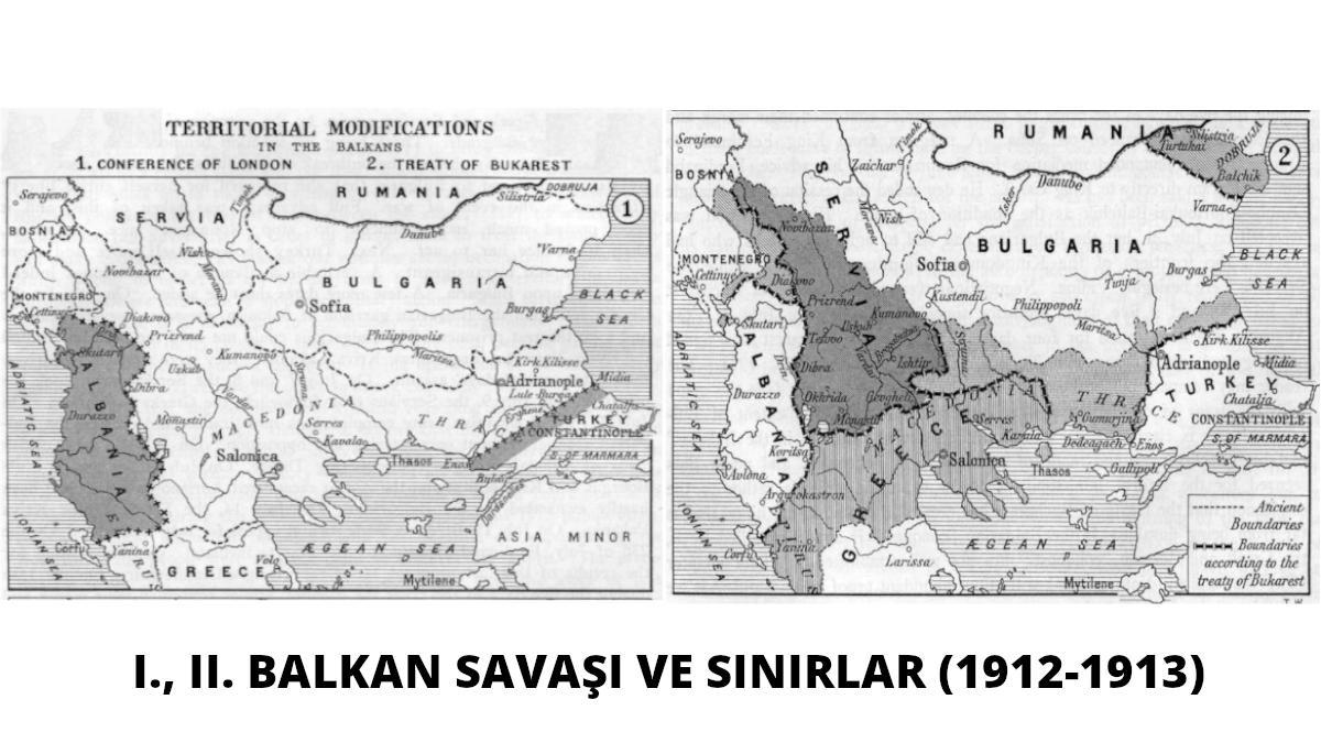 Balkan Wars Boundaries Kaynak: Wikimedia Commons'tan Özgür medya deposu