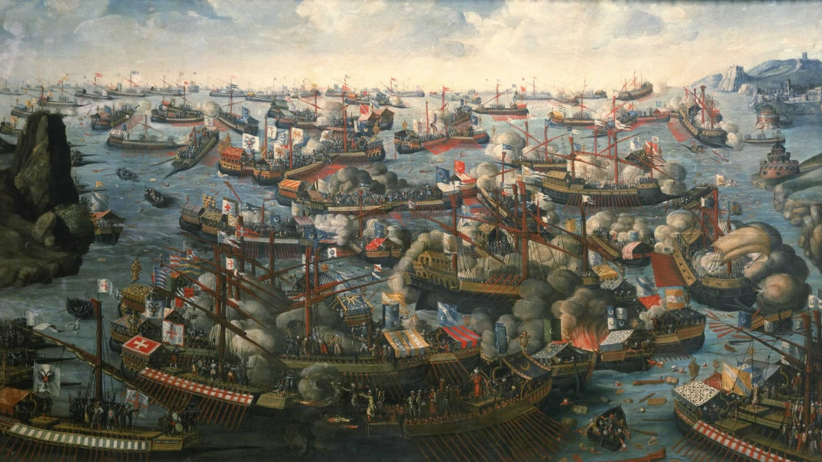 1571 yılındaki ünlü İnebahtı Deniz Muharebesi. İnebahtı Deniz Muharebesi. İnebahtı Deniz Savaşı'nı anlatan bir çizim. İnebahtı Savaşı. Kaynak: Wikimedia Commons'tan Özgür medya deposu