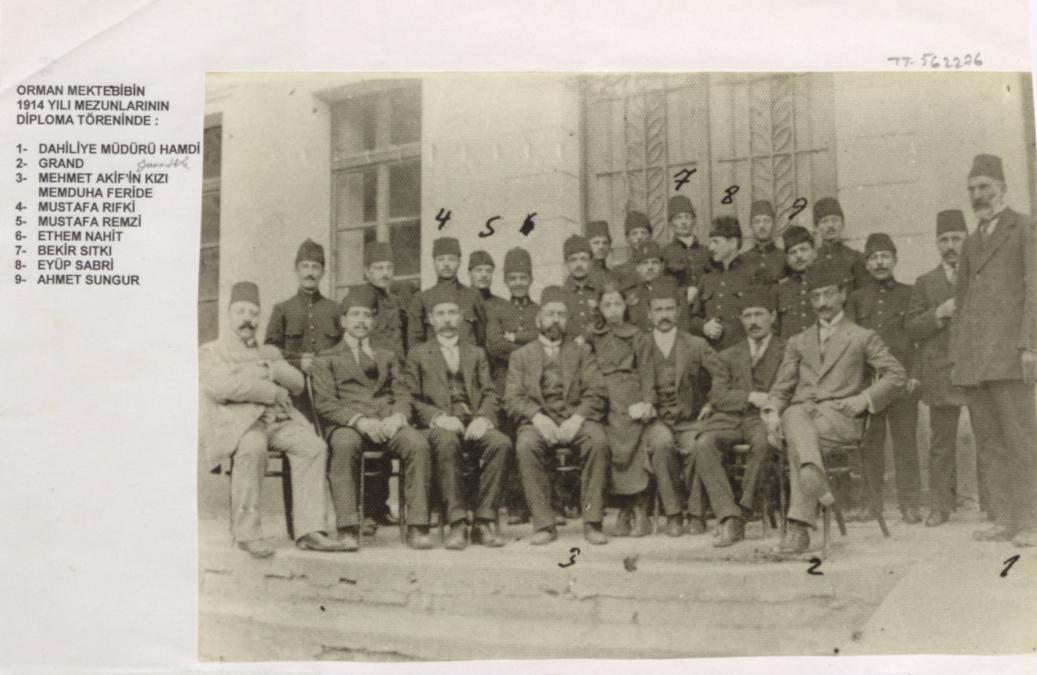 Mehmet Akif Ersoy'un aralarında bulunduğu Orman Mektebi'nin 1914 yılı mezunlarının diploma töreninde çekilmiş fotoğraf. Dahiliye Müdürü Grand, Mehmet Akif Ersoy'un kızı Memduha Feride, Mustafa Rıfkı, Mustafa Remzi, Ethem Nahit, Bekir Sıtkı, Eyüp Sabri, Ahmet Sungur'dur. Kaynak: http://earsiv.sehir.edu.tr:8080/xmlui/handle/11498/33713