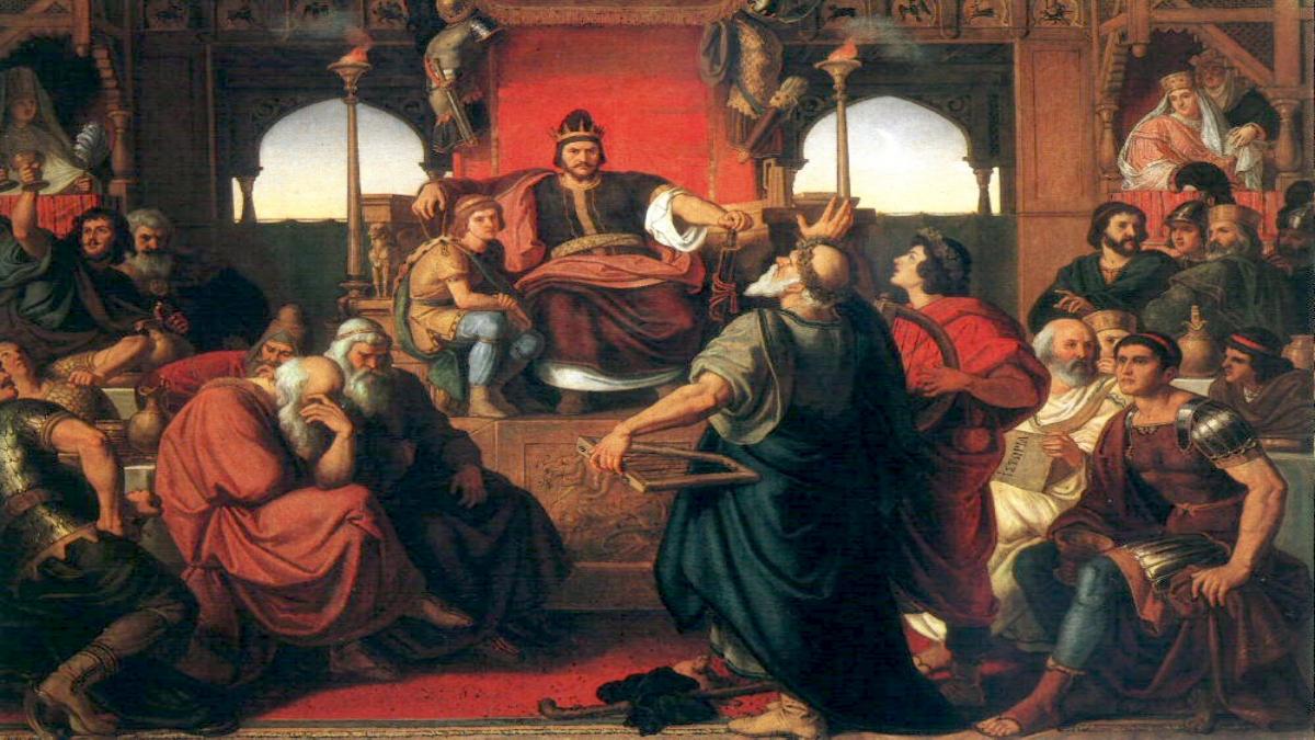 Attila'nın ziyafeti, Mór Than tarafından Bizans büyükelçisi Priskos'un (en sağ altta) yazmış olduğu tasvirlere dayanarak çizilmiştir. (1870) - Kaynak: Wikimedia Commons'tan Özgür medya deposu