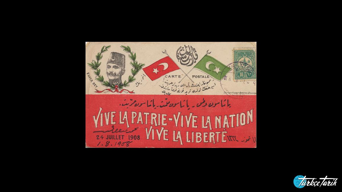 İkinci Meşrutiyet'in ilanı konulu Osmanlı postakartı - Kaynak: Wikimedia Commons'tan Özgür medya deposu