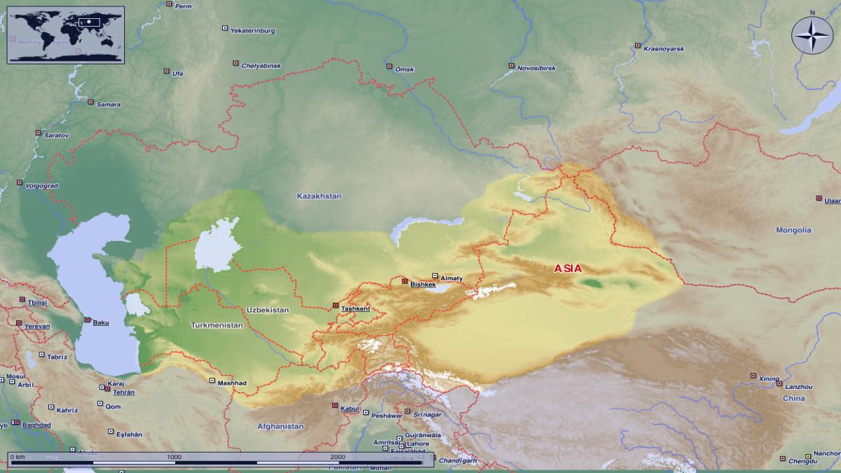 Türkistan, Orta Asya'da, Özbekistan, Kazakistan, Türkmenistan, Tacikistan, Rusya, Moğolistan ve Çin topraklarının bir kısmını kapsayan çoğunlukla Türk halklarının yaşadığı coğrafi bir bölgedir. Kaynak: Wikimedia Commons'tan Özgür medya deposu